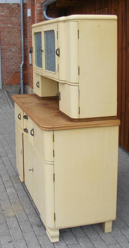 k chenbuffet cremefarben runde ecken 1935 k chenschrank ebay. Black Bedroom Furniture Sets. Home Design Ideas