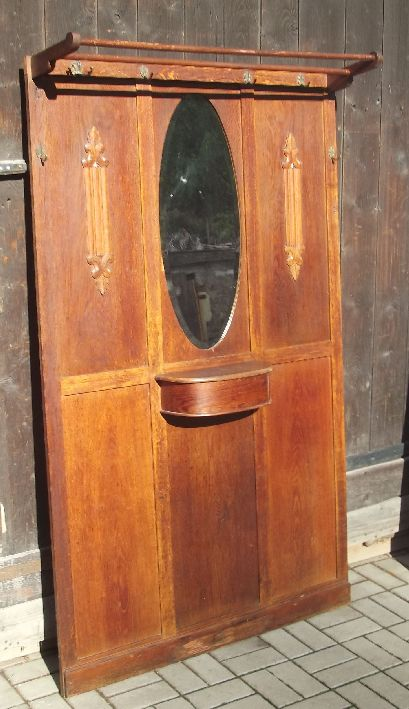 garderobe jugendstil um 1910 ovaler spiegel messing haken usw flurgarderobe ebay. Black Bedroom Furniture Sets. Home Design Ideas