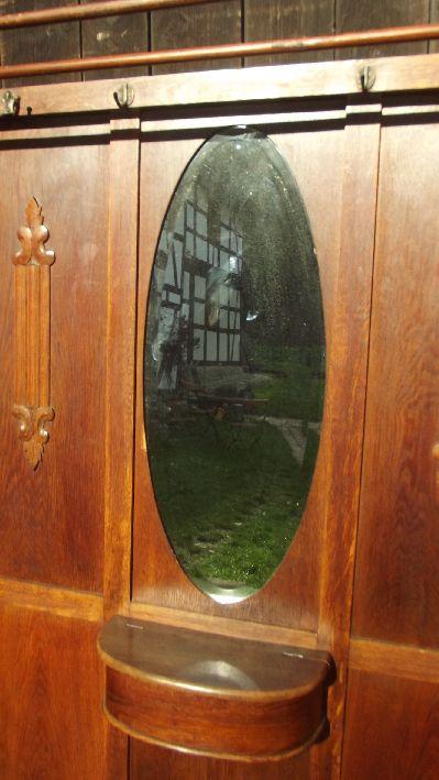 garderobe jugendstil um 1910 ovaler spiegel messing haken usw flurgarderobe ebay. Black Bedroom Furniture Sets. Home Design Ideas