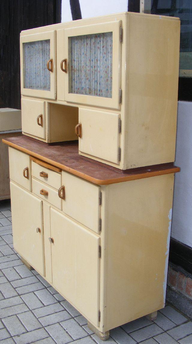 zierliches k chenbuffet um 1935 glas sch tten nur 1 29 m breit k chenschrank ebay. Black Bedroom Furniture Sets. Home Design Ideas