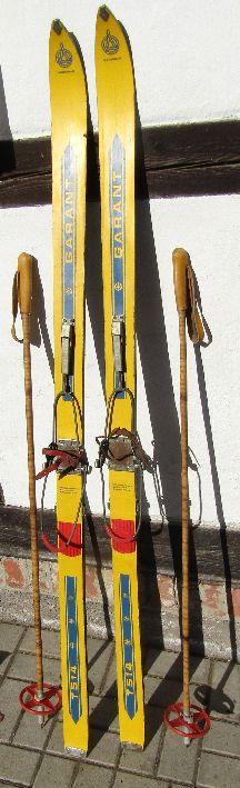 ALTE DDR GERMINA Ski Tourenski mit Stöcken aus Bambus EUR