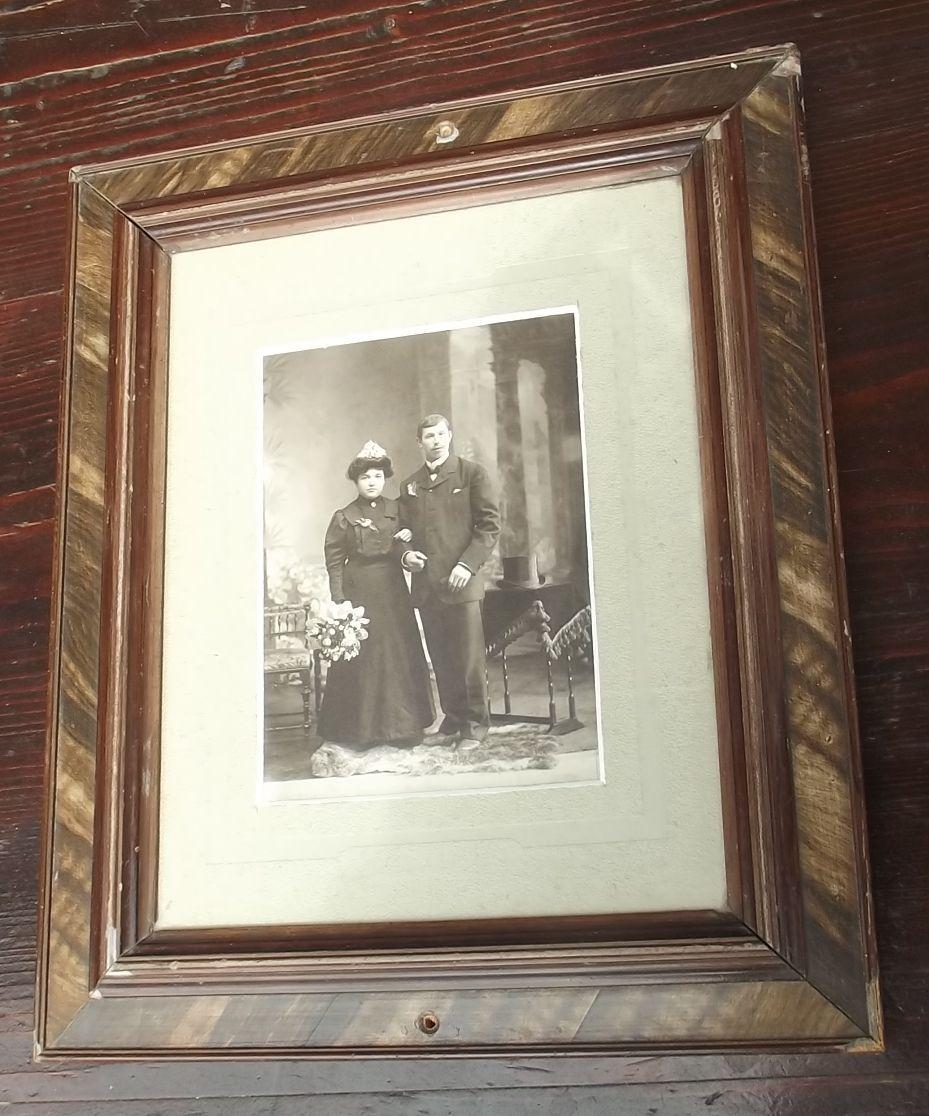 BILDERRAHMEN mit Kabinetfoto Hochzeitfoto dat. 1907 Rahmen Foto | eBay