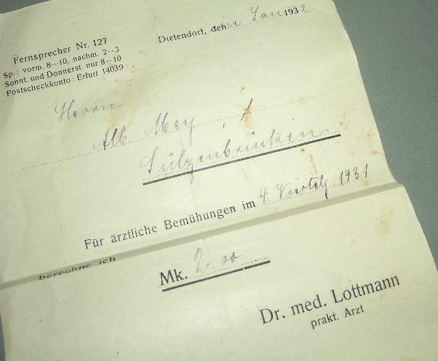 rechnung neudietendorf dietendorf dr med lottmann 1932. Black Bedroom Furniture Sets. Home Design Ideas